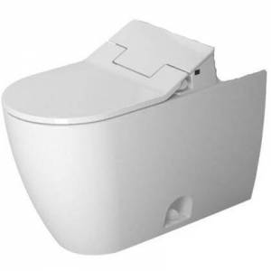 Duravit ME by Starck 21715100051 Floor Mount Two Piece Elongated ADA Toilet Bowl Only for SensoWash and 1.32 or 0.92 GPF - No Seat  in White Wonder