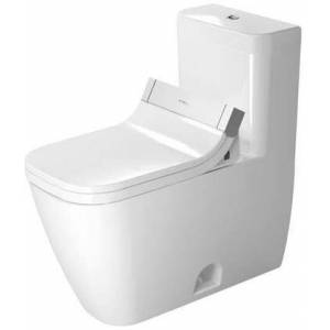 Duravit Happy D.2 21215100011 Floor Mount One Piece Elongated Chair Height ADA Toilet with Top Flush Button and 1.32 or 0.9 GPF - No Seat  in White Wonder