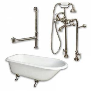 """Cambridge RR61-398463-PKG-BN-NH Cast Iron Rolled Rim Clawfoot Tub 61"""" x 30"""" with complete Free Standing British Telephone Faucet and Hand Held Shower Brushed"""