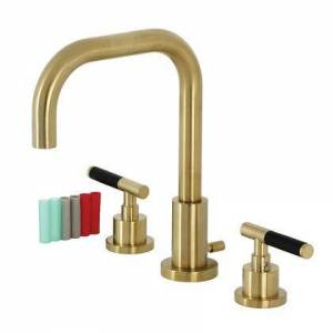 Kingston FSC8933CKL Fauceture Kaiser Widespread Bathroom Faucet with Brass Pop-Up  Brushed