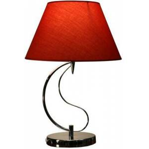 HomeRoots 320470 Christina 1-light Red Fabric 20-inch Chrome Table Lamp in