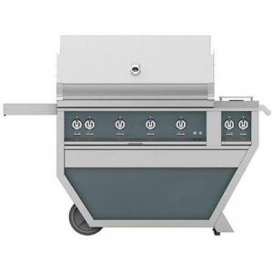 """Hestan GMBR42CX2-NG-GG 42"""" Deluxe Freestanding Natural Gas Grill with up to 148 000 BTUs  774 sq. inches Grilling Surface Size   Double Side Burner  Ceramic"""