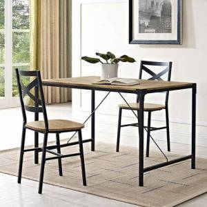"""Walker Edison TW48AIBW 48"""" Angle Iron Wood Dining Table in"""