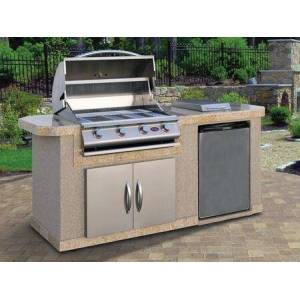 """Cal Flame LBK701 BBQ Island with 4 Burner Liquid Propane P4 Grill  Side Burner  Stainless Steel Refrigerator and 30"""" Double Access Doors  Ameristone Stucco"""