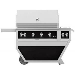 """Hestan GSBR42CX2-LP-BK 42"""" Deluxe Freestanding Liquid Propane Grill with up to 148 000 BTUs  Double Side Burner  Ceramic Infrared Top and Sear Burners  in"""