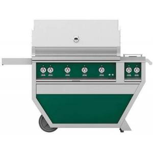 """Hestan GMBR42CX2-NG-GR 42"""" Deluxe Freestanding Natural Gas Grill with up to 148 000 BTUs  774 sq. inches Grilling Surface Size  Double Side Burner  Ceramic"""