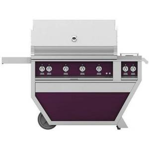 """Hestan GSBR42CX2-NG-PP 42"""" Deluxe Freestanding Natural Gas Grill with up to 148 000 BTUs  Double Side Burner  Ceramic Infrared Top and Sear Burners  in Lush"""