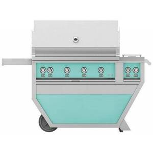 "Hestan GSBR42CX2-NG-TQ 42"" Deluxe Freestanding Natural Gas Grill with up to 148 000 BTUs  Double Side Burner  Ceramic Infrared Top and Sear Burners  in Bora"