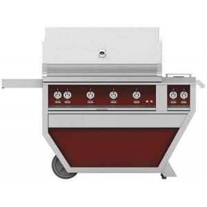 """Hestan GSBR42CX2NGBG 60"""" Deluxe Freestanding Grill with up to 148 000 BTUs  Double Side Burner  Ceramic Infrared Top and Sear Burners  in Tin Roof"""