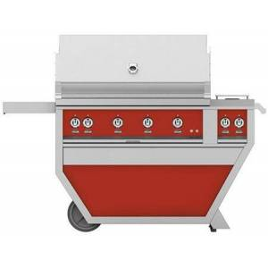 """Hestan GMBR42CX2-LP-RD 42"""" Deluxe Freestanding Liquid Propane Grill with up to 148 000 BTUs  774 sq. inches Grilling Surface Size   Double Side Burner"""