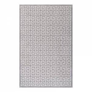 Modway Freydis Collection R-1013B-58 Greek Key 5x8 Area Rug in White and Light Grey