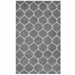 Modway Solvea Collection R-1143B-58 Moroccan Trellis 5x8 Shag Area Rug in Grey and Ivory