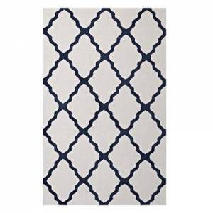 Modway Marja Collection R-1003B-58 Moroccan Trellis 5x8 Area Rug in Ivory and Navy