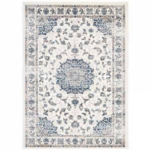 Modway Lilja Collection R-1127B-58 Distressed Vintage Persian Medallion 5x8 Area Rug in Ivory and Moroccan Blue