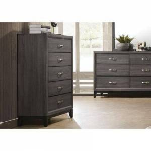 Benzara BM185489 Five Drawer Chest With Tapered Feet  Weathered
