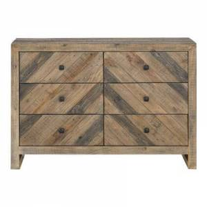 Moes Home Collection Teigen Collection FR-1006-03 Dresser with Solid Reclaimed Pine Wood in Brown