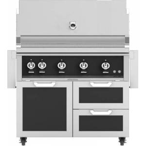 """Hestan 42"""" Freestanding Liquid Propane Grill with GCR42BK Tower Grill Cart with Double Drawer and Door Combo  in Stealth"""