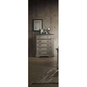 Myco Furniture Amelia Collection AM400-CH Chest with 5 Drawers and Kenlin Center Glides in Antique White