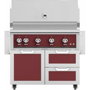 """Hestan 42"""" Freestanding Liquid Propane Grill with GCR42BG Tower Grill Cart with Double Drawer and Door Combo  in Tin Roof"""