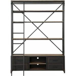"Acme Furniture Actaki Collection 64"" Bookshelf with 4 Drawers  2 Open Compartments  Rolling Ladder  Industrial Nail-Head Trim  Handmade Painted Metal Frame and"