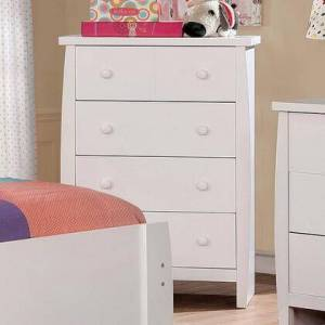 """Furniture of America Marlee CM7651WH-C 29"""" Chest with 4 Drawers  Round Simple Pulls and English Dovetail Drawer Construction in"""