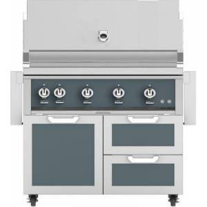 """Hestan 42"""" Freestanding Natural Gas Grill with GCR42DG Tower Grill Cart with Double Drawer and Door Combo  in Pacific Fog Dark"""