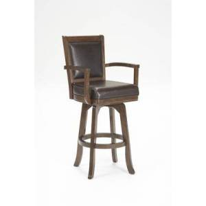 """Hillsdale Furniture 6124-826 Ambassador 43"""" Counter Stool with Distressed Detailing MDF Frame and Bonded Leather Seat and Back in Rich"""