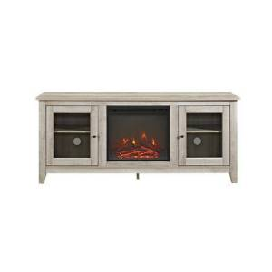 """Walker Edison W58FP4DWWO 58"""" Wood Media TV Stand Console with Fireplace in White"""