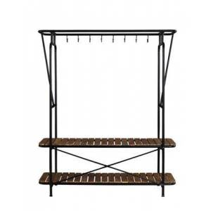 """Coaster Hayley Collection 980007 59"""" Clothes and Shoe Rack with Eight Coat Hooks  Two Storage Racks  in Tabacco and Black"""