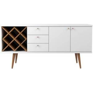 Manhattan Comfort 1010451 Utopia 4 Bottle Wine Rack Sideboard Buffet Stand with 3 Drawers and 2 Shelves in White Gloss and Maple