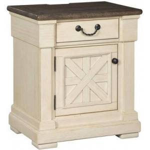 """Ashley B647-191 Bolanburg Collection 26"""" Nightstand with Simple Pull  Black Faceted Hardware  Electrical Outlet  USB Charging Port  Wood Veneer and"""