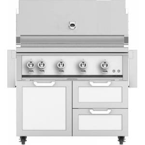 """Hestan 42"""" Freestanding Natural Gas Grill with GCR42WH Tower Grill Cart with Double Drawer and Door Combo  in Froth"""