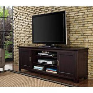 Walker Edison W70C25SDES 70 Espresso Wood TV Stand with Sliding