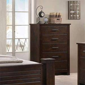 Benzara BM185911 Wooden Chest with Five Drawers  Mahogany