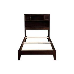 Atlantic Furniture Newport Collection AR8521031 Twin Size Bookcase Bed with 2 Raised Panel Doors  2 Shelves  Traditional Style  Low Profile Footboard  Eco-Friendly and
