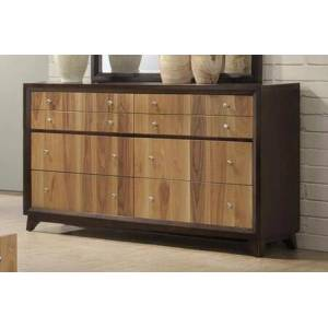 """Myco Furniture Ava Collection 66"""" Dresser with 6 Drawers  Tropical Hardwood and SAP Walnut Veneer Construction in Espresso and Natural Walnut"""