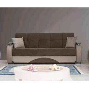 """Alpha Besan Collection BESAN SOFA 90"""" Sofa Bed with Hidden Storage Compartment  Plywood Frame Construction  Brown Legs  Wooden Arms and Fabric Uphosltery"""