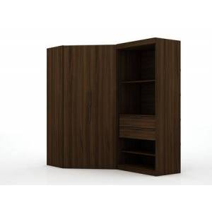 Manhattan Comfort Mulberry Collection 125GMC5 Wardrobe/ Armoire/ Closet with 4 Adjustable Shelves  2 Drawers  2 Doors  Contemporary Modern Style  Medium-Density
