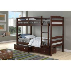 Donco 4100-CP_505-CP Twin/Twin Devon Bunk Bed With Dual Underbed Drawers in Dark Cappuccino