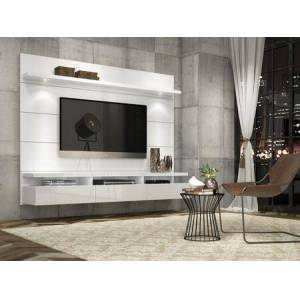 """Manhattan Comfort Cabrini 1.8 Collection 23752 71"""" TV Panel with LED Lights  4 Shelves and 3 Telescopic Drawer Slides in White"""