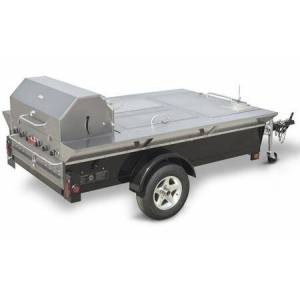 """Crown CV-TG-4 48"""" Towable Liquid Propane Grill with Storage Compartments  Built-In Sink  99 000 BTU/H  6 Burners  Propane Bracket  Water Pan with Drain"""