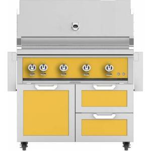 "Hestan 42"" Freestanding Natural Gas Grill with GCR42YW Tower Grill Cart with Double Drawer and Door Combo  in Sol"