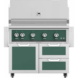 """Hestan 42"""" Freestanding Natural Gas Grill with GCR42GR Tower Grill Cart with Double Drawer and Door Combo  in Grove"""