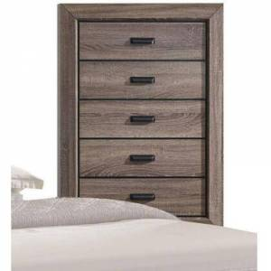 Benzara BM185444 Five Drawer Chest With Scalloped Feet In Weathered Gray Grain