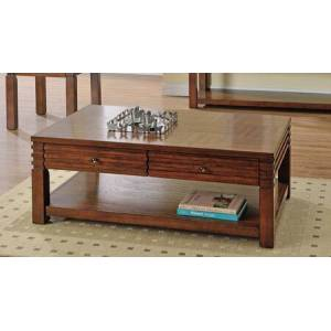 Myco Furniture Tista Collection TS100CT Coffee Table with 2 Storage Drawers and Wood Top in Medium Cherry
