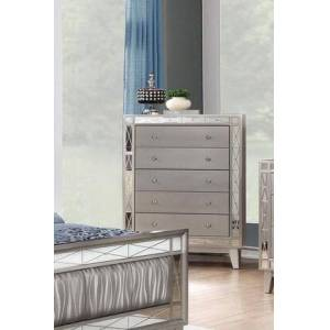 """Coaster Leighton Collection 204925 32"""" Chest with 5 Drawers  Mirror Panel Accents  Crystal Knobs  Poplar Wood and Asian Hardwood Frame in Mercury Metallic"""