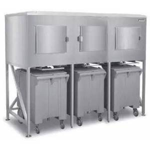 """Scotsman ICS-3-SL 90"""" Three Bay Ice Express System with 2900 lbs. Storage Capacity  Extension Sleeve  Stainless Steel Construction and Polyethylene Ice Carts"""