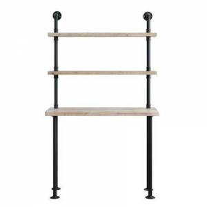 4D Concepts 182030 Wall Bookcase And Desk  in Washed Fir Wood with black metal