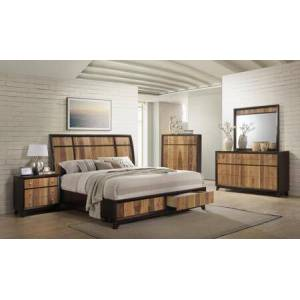 Myco Furniture Ava Collection AV6120QNCMDR 5-Piece Bedroom Set with Storage Platform Queen Bed  Nightstand  Chest  Mirror and Dresser in Espresso and Natural Walnut