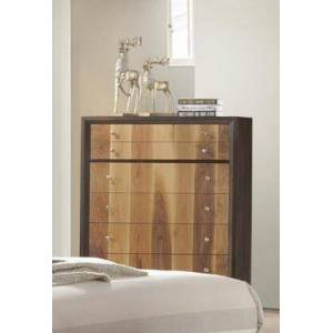"""Myco Furniture Ava Collection 40"""" Chest with 5 Drawers  Tropical Hardwood and SAP Walnut Veneer Construction in Espresso and Natural Walnut"""